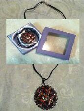 Metal Pendant Victorian Goth Steampunk Red Rhinestone Round Faux Suede Gift Box