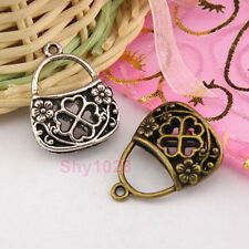 3Pcs Tibetan Silver,Bronze Hollow Filigree 3D Bag Charm Pendant 19x23.5mm M1287