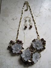 NEW BROWN FLOWERS & CRYSTALS NECKLACE & EARRINGS SET FROM COLDWATER CREEK