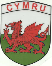 Cymru Wales Welsh Dragon Flag Shield Shape Internal Car Window Sticker Decal