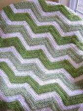 CROCHET CHEVRON handmade baby blanket afghan wrap shawl wheelchair VANNA green