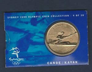 """2000 Sydney  Olympic $5 Coin  """"CANOE/KAYAK""""  # 4 of 28 - With Outer Sleeve ....e"""