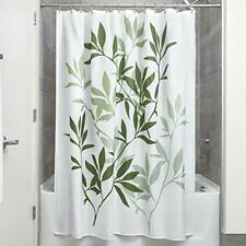 Leaves Fabric Shower Curtain, Modern Mildew-Resistant Standard Light Green