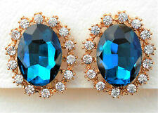 Clip-on gold tone round clear and blue oval crystal earrings Approx.2.5 by 2cm