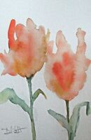 abstract floral flower garden 9x6 collectible watercolor painting art Delilah
