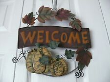 """Pumpkin """"Welcome"""" Metal Sign - Approx. 12"""" Wide and 11"""" High - Used"""