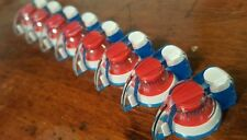 4 Chicken Head Knobs With Set Screw..Red/White/Blue..    JAT CUSTOM GUITAR PARTS