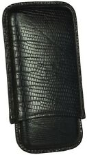 MARTIN WESS BLACK LIZARD COWHIDE/ GOATSKIN LEATHER 5 CIGARILLO CASE * NEW *