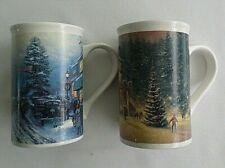 Set of 2 Thomas Kinkade Very Large Coffee Cups / Mugs. Christmas at Courthouse