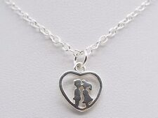 Handmade 925 sterling silver bracelet with heart kissing charm