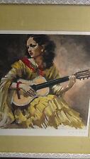J.D.VAN CAULAERT ORIGINAL ENGRAVIN-GRAVURE DEPICTS WOMAN  PLAYING GUITAR,SIGNED