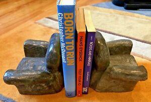 Vintage Brutalist Uruguay Eduardo Strauch SIGNED CAST Stone OVERSTUFFED CHAIRS