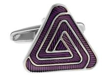 Pyramid Purple Triangle Cufflinks Elegant Wedding Fancy Gift Box Free Ship USA