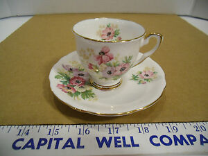 Henley Royal Stafford Bone China Floral Demitasse or Expresso Cup & Saucer - EUC