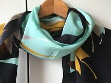Silk Scarf - Blue/gold/black/white/toupe Leaf Design
