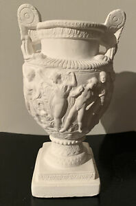 Greek Style Vase Urn Unfinished Plaster of Paris 11 1/4 Inches Nudes & Cherubs