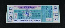 Rare 1962 BALTIMORE COLTS vs MINNESOTA VIKINGS Original Game Football Ticket