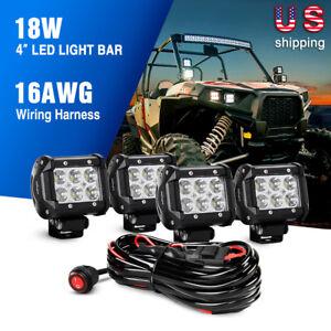 Nilight Led Light Bar 4PCS 4Inch 18W Spot OffRoad Trucks Fog Lights Wiring Kit