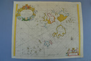 Vintage decorative Marine chart sheet map of The Islands of Scilly 1689