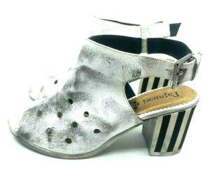 Papucei White Leather Shoe Stripe Rubber Heel Open Toe Slingback Size EU 38