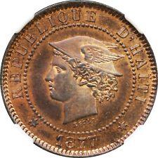 Haiti Republic Copper Proof Essai Pattern 20 Centimes 1877 NGC PR64 RB KM-Pn77