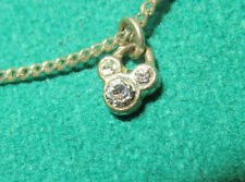 Vintage Disney Mickey Mouse Diamond Necklace penadant Female Child 18 inch