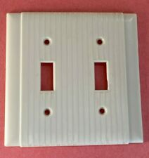 Vintage Ivory Art Deco Ribbed Bakelite Toggle 2 Double Switch Cover Plate