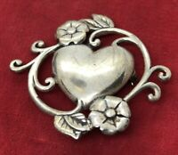 Vintage Sterling Silver Brooch Pin 925 Signed Jezlaine Heart Flower