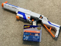 Nerf N-STRIKE ELITE White Retaliator Dart Gun with Stock and Barrel + New Darts