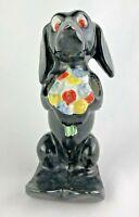 VINTAGE DOG Dachshund  Bouquet TOOTHPASTE TOOTHBRUSH HOLDER JAPAN DENTIST
