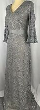 Calvin Klein Sheath Dress Gown Maxi Long 4 Lace Silver Evening Gray Nude New