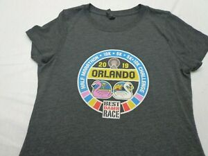 Best Damn Race Orlando 2017 Running Marathon Shirt Size Women's Medium  Gray