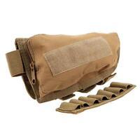 Rifle Shotgun Buttstock Cheek Rest Ammo Shell Hunting Mag Pouch Holder tan