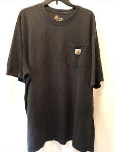 Carhartt Pocket T-Shirt Tee Black Men's 2XL Tall 2XLT Short Sleeve Workwear
