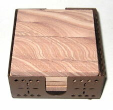 Set of 4 Natural Thirstystone Picture Sandstone Square Coasters w/ Metal Holder