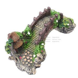 Handmade Aquarium Cave Bridge Ornament Pavilion Tree Fish Tank Decorations Kit