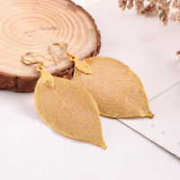 Ohrringe Gold Natural Leaf Anhänger Echtes Blatt Unikat Blattohrringe Geschenk
