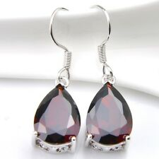 High Quality Water Drop Red Fire Garnet 925 Sterling Silver Plated Hook Earrings