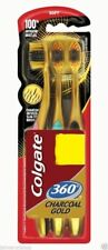 2X Colgate 360 Toothbrush Charcoal gold Clean Teeth tongue Gums cheeks 3pc