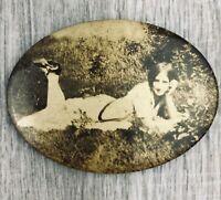 Vintage Compact Mirror Outdoor Scene Woman Model