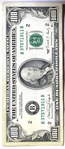1990 District (B) $100 Federal Reserve Note One Hundred Dollar Bill, ...911 B
