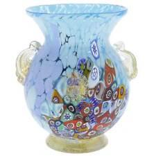 GlassOfVenice Murano Glass Millefiori Urn Vase with Lion Heads - Aqua