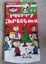 "Snoopy Christmas Peanuts Tree Skirt Red Large 48"" Diam New Soft Fabric"