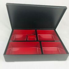 Bento Box Japanese Style Meal Box Divider Tray in Box Lunch Container Red Black
