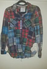 Free people plaid patchwork flannel long sleeve button down size extra small xs