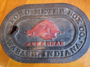 Rare Antique Ford Meter Box Co Water Meter Wabash Indiana Arkansas Razorback