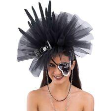 Copricapo Cerchietto Cappello con piume e tulle nero
