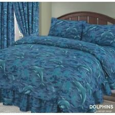 POLYCOTTON DOLPHINS OCEAN BLUE SINGLE BED DUVET COVER & PILLOWCASE BED LINEN SET