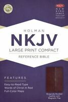 NKJV Large Print Compact Reference Bible, Burgundy Bonded Leather with Magnet...