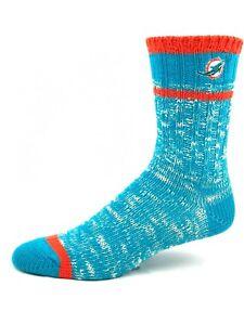 Miami Dolphins Football Turquoise & Orange Alpine Knit Deuce Crew Socks